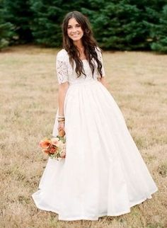 Modest Wedding Dress with Sleeve Lace Wedding Dress with Sleeves CoutureDeBride Kallah Gown Tznius Tzniut - just love the skirt