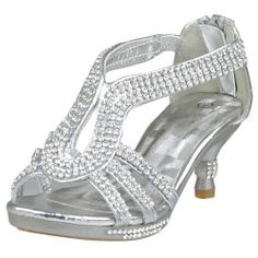 Elegant silver high heel shoes with a Velcro ankle strap for a