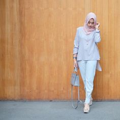 """1,255 Likes, 24 Comments - @nabilahatifa on Instagram: """"grey with a touch of soft pink. (Alaia top - new pattern Gael pants) @nrh.fornabilia"""""""
