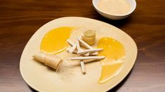 Ella's Sweet and Sour Treat from Masterchef Australia [butterscotch ice cream with lemon curd] Butterscotch Ice Cream, Carrot Pudding, Masterchef Australia, Milk And Vinegar, Creamed Eggs, Serving Plates, Tray Bakes, Sweet Recipes, Australia