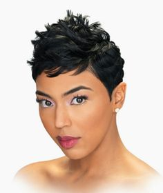 Human Hair Capless Wigs Human Hair Natural Wave Pixie Cut / Short Hairstyles 2019 / With Bangs Halle Berry Hairstyles Side Part Short Machine Made Wig Womens Boy Haircuts Short, Cute Hairstyles For Short Hair, Pixie Hairstyles, Trendy Hairstyles, Short Sassy Hair, Short Hair Cuts, Short Hair Styles, Pixie Cuts, Short Pixie
