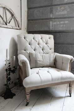 Jeanne d'Arc Living - Gorgeous upholstered armchair to compliment a French Style bedroom.