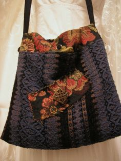 SALE Small Bohemian Bag long cross over body strap by GrandmaDede, $40.00