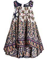 15561baa3044 Amazon.com  Kids Girls Backless Wave Stripe Maxi Long Sundress Boho Dress  Skirt  Clothing