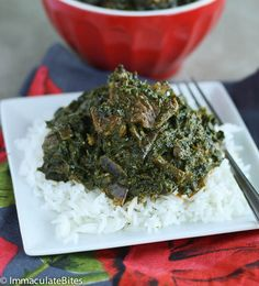 Cassava Leaf Soup with white rice is my favorite food in the world! I don't get the chance to eat it as often since my mom died, but it's my favorite African dish! Ghanaian Food, Nigerian Food, West African Food, African Men, Vegan Recipes, Cooking Recipes, Soup Recipes, Caribbean Recipes, Caribbean Food
