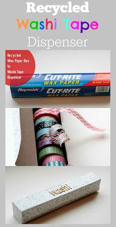 Use an empty tin foil or wax paper box as a Washi Tape dispenser. It has a roll and built in serrated cutting edge. I have a lot of Washi Tape. Diy Storage Boxes, Craft Room Storage, Paper Storage, Craft Organization, Storage Ideas, Organizing Tips, Washi Tape Cards, Washi Tape Diy, Washi Tapes