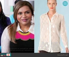 Mindy's metallic patterned shirt on The Mindy Project.  Outfit Details: https://wornontv.net/61249/ #TheMindyProject