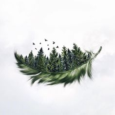 Specializing in surrealism photography, self-taught Photoshop expert Luisa Azevedo creates composite photos straight out of a dream. Natur Tattoos, Pine Trees Forest, Forest Tattoos, Drawn Art, Skin Art, Body Art Tattoos, Drawing Tattoos, Cover Up Tattoos, Amazing Art