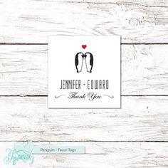 Penguin Favor Tags Wedding Printable Handmade Custom by Joytations