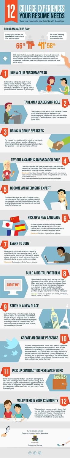 12 college experiences To Prepare You for the World of Work (and Job Market) [Infographic] by Boundless