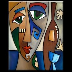 Art 'Faces1180 2430 Original Abstract Art Painting Hands Off My Wine' - by Thomas C. Fedro from Faces