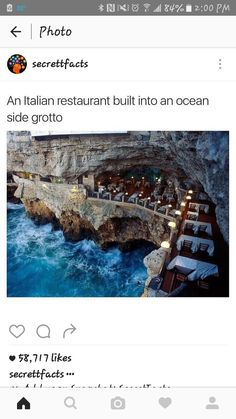 Grotta Palazzese Hotel restaurant in the town of Polignano a Mare in Southern Italy Vacation Places, Dream Vacations, Vacation Spots, Oh The Places You'll Go, Cool Places To Visit, Beautiful Places To Travel, Future Travel, Adventure Travel, Travel Inspiration
