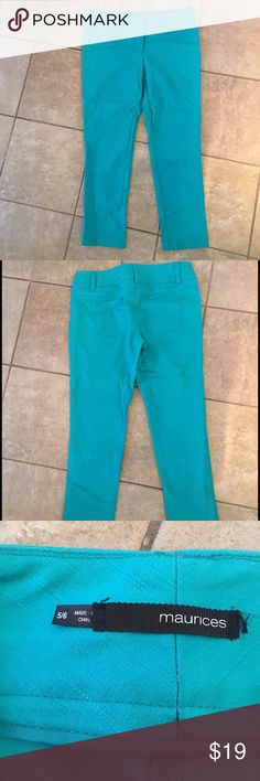 Maurice's Capri  Floods Size 5/6 Like New These are Like New unseen 25 1/2 almost to the ankle, only wore maybe 2 times. Button needs tightened but has slide closure at waist . Didn't have thread to fix. Nice Spring color. I will be listing the perfect top to go with it! Thanks for looking at my Closet! Maurices Pants Ankle & Cropped