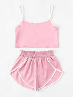Contrast Trim Cami Top With ShortsFor Women-romwe Cute Lazy Outfits, Sporty Outfits, Teen Fashion Outfits, Trendy Outfits, Cute Pajama Sets, Cute Pajamas, Cute Sleepwear, Pajama Outfits, Jolie Lingerie