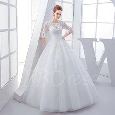 Scoop Neck Half Sleeves Lace Beading Ball Gown Wedding Dress - m.tbdress.com