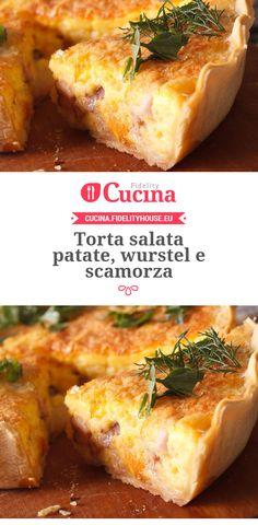 Torta salata #patate, #wurstel e #scamorza