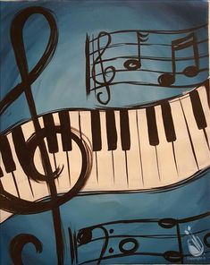 View our painting classes calendar to paint and drink wine in Painting with a Twist in Daytona Beach FL. Music Drawings, Art Drawings For Kids, Music Artwork, Art Music, Small Canvas Paintings, Canvas Art, Jazz Painting, Music Notes Art, Music Canvas