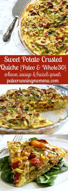 Sweet Potato Crusted Quiche - paleo - with bacon, sausage, and brussels sprouts (Sausage Recipes Healthy) Sausage Recipes, Bacon Sausage, Paleo Recipes, Real Food Recipes, Cooking Recipes, Eggless Recipes, Potato Recipes, Whole30 Sausage, Apple Sausage