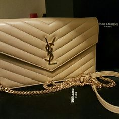 f29a12d84e6 Yves Saint Laurent wallet on chain Lamb skin wallet on chain in dark beige  color Yves Saint Laurent Bags Mini Bags