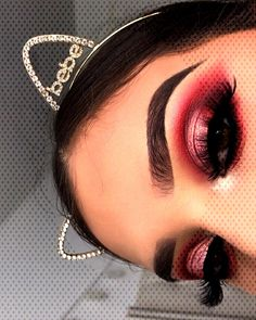 You can find Red makeup looks and more on our website. Gorgeous Eyes, Gorgeous Makeup, Red Makeup Looks, Becoming A Makeup Artist, Makeup Ideas, Eye Makeup, Chokers, Hoop Earrings, Website