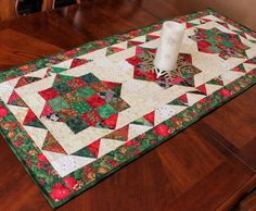 Scrappy and bright Christmas Jewels Table Runner