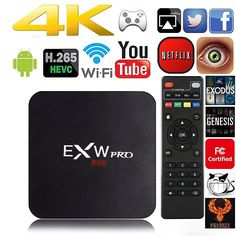 Amlogic EXW EXW PRO Quad Core Smart TV Box With Xbmc Pre-installed Android 5.1 Kitkat System H.265 Wifi LAN Miracast Airplay Player 1G RAM 8G ROM.