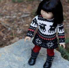 Nordic Reindeer Sweater Dress for American girl Doll. via Etsy.