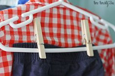 In a pinch, clothespins can stand in for pants clips. Plus, they help you store a complete outfit on just one shirt hanger.