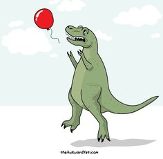 #FridayFun: T.rex trying to catch a balloon #UltimateDinosaurs (via The Awkward Yeti)