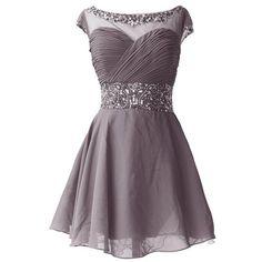 Dresstells Short Chiffon Elegant Simple Ruffled Pleated Beads Cocktail... ($72)…