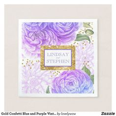 Baby Shower Gold Confetti Blue and Purple Vintage Floral. Personalize with your own details, easily. 30 Day Money Back Guarantee. Ships Worldwide.