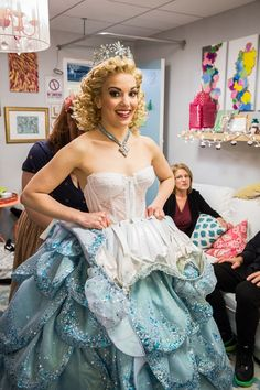 Kara Lindsay steps into her elaborate gown for her first performance as Glinda on Broadway.