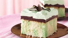Grasshopper Fudge Cake ( use creme de menthe instead of mint extract & 1 1/2 jars of choc. topping)