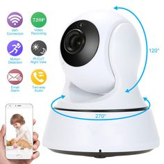 WOSHIJIA 720P Pan Tilt Security IP Camera WiFi Home Security CCTV Camera with Night Vision Two Way Audio P2P Remote View