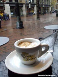 Coffee in the rain. From SeattleCoffeeScene.com