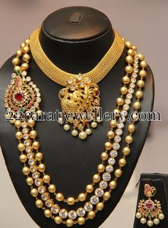 Jewellery Designs: Trendy jewelry with Stones and Beads Beaded Jewelry Designs, Indian Jewellery Design, Necklace Designs, Temple Jewellery, India Jewelry, Pearl Jewelry, Jewelery, Antique Necklace, Gold Necklace