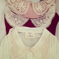 add doily peter pan collar to blouses/sweaters