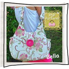 "PURSE PDF pattern Handbag sewing tutorial - ""Bella"", handmade floral handbag, tote or shoulder bag"