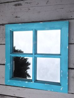 Shabby Chic mirror large 16x16 blue turquoise by MySugarBlossom, $35.00