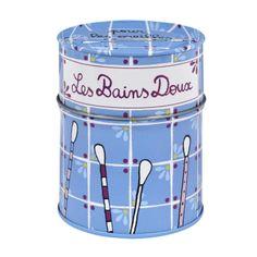 Boîte à bâtonnets Doux - Bleu - Derrière La Porte DLP - Boite rangement salle de bain/Boite coton tige - espritlogis-fr