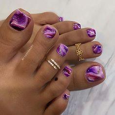 Gold Toe Nails, Purple Toe Nails, Pretty Toe Nails, Summer Toe Nails, Cute Toe Nails, Feet Nails, Black Nails, Stiletto Nails, Acrylic Nails