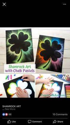 Make Brightly Colored Shamrock Art with Chalk Pastels - Trend Topic For You 2020 Spring Art Projects, Spring Crafts For Kids, Craft Projects For Kids, Easy Crafts For Kids, Art For Kids, Crafty Projects, Project Ideas, Summer Kids, Easter Crafts Kids