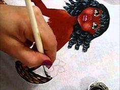 Pintura em tecido - Boneca Patrícia - Como pintar boneca negra 2-2 - how to paint black doll - YouTube