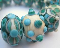 Teal, Ivory and Turquoise Lampwork Beads