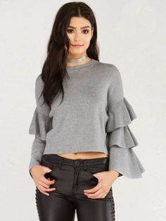 02e70360403ad7 Women s Triple ruffle sleeves casual loose sweater clothes