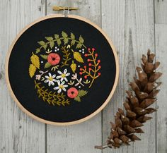 Marigold + Mars is modern hand embroidery by Cristin Morgan. Her colorful hoop art is centered around lettering and flowers, often combining them into one beautiful piece.