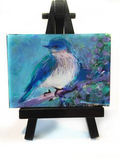 Sprng returns Blue bird aceo Easel and aceo by Gina Signore dahliahousestudios #Art #Bird art #Aceo art #Bluebird aceo #Birds #Miniature art #Gifts under $20