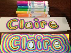 Rainbow Names! A fun activity for students to do on the 1st day of school while the teacher gets organized. Use these name tags to decorate a student work bulletin board.