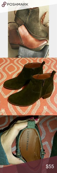 Lucky Brand Ankle Booties Beutiful Basel booties, olive color suede leather perfect for this time of year, zipper on both sides, approx 1.25 inch heel. The first picture is the actual color of the boot, very clean inside and comfortable, wore them about 3 times Lucky Brand Shoes Ankle Boots & Booties