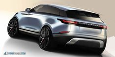 Range Rover has officially unveiled the new Velar during a special event at the Design Museum in London. As the fourth member of the Range Rover family, the new mid-size luxury SUV has been created to fill the 'white space' between the Evoque and […] Car Design Sketch, Car Sketch, Automobile, Land Rover, Range Rover Sport, Range Rovers, Automotive Design, Auto Design, Futuristic Cars